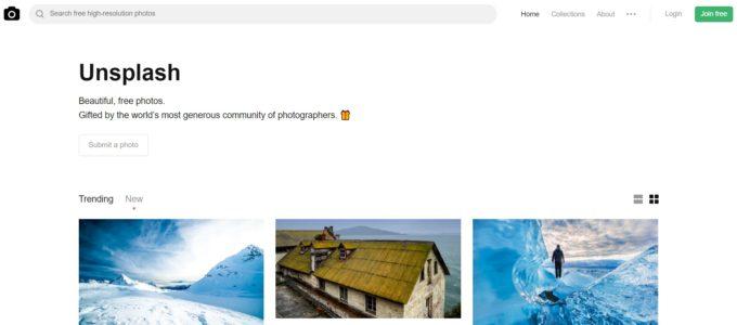 Unsplashのホームページ