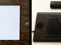 スケッチブックと絵の具と鉛筆/ペンタブレット