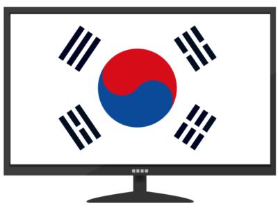 韓国の国旗とテレビ