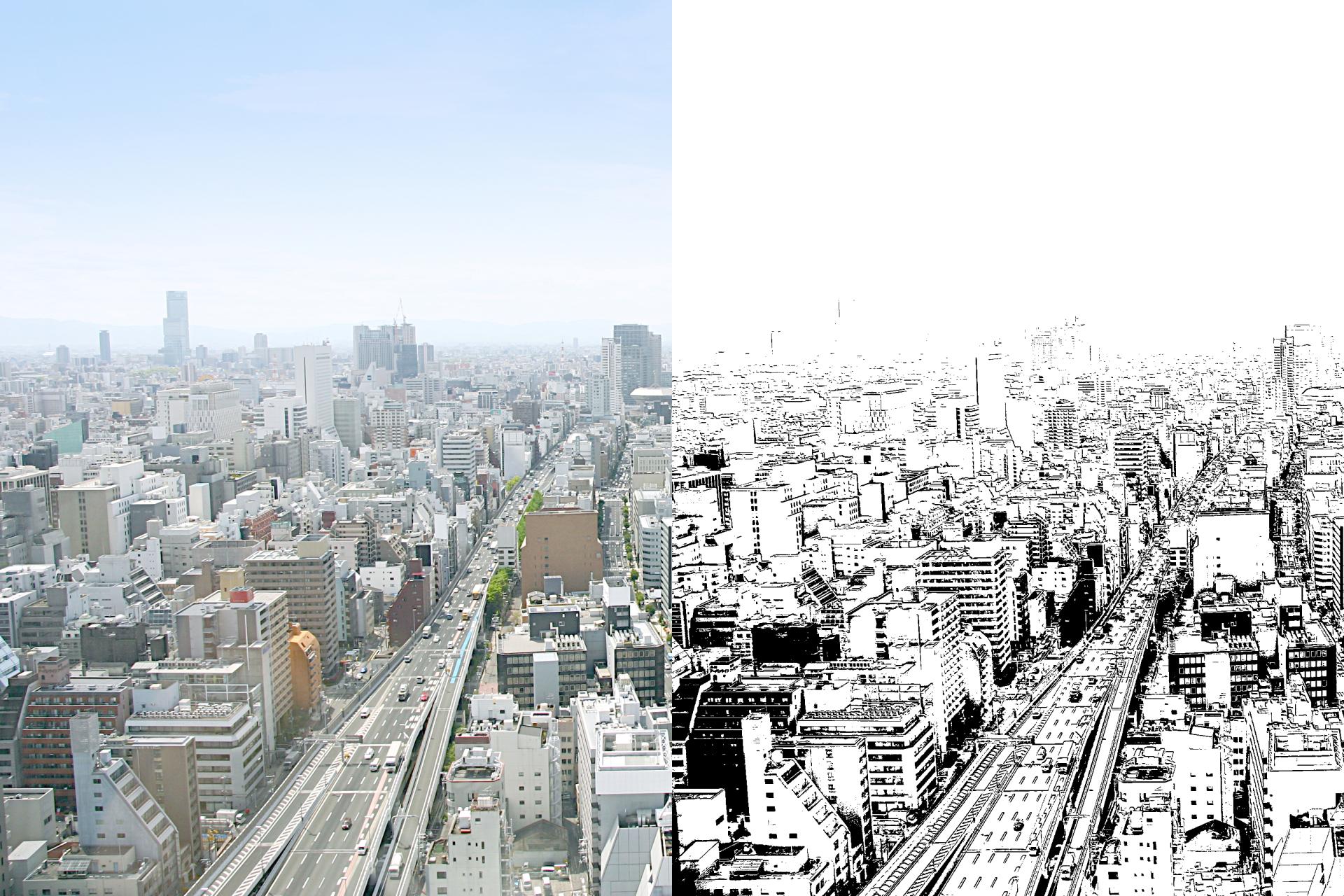 左の写真から、右側のように輪郭線を自動で抽出できる。